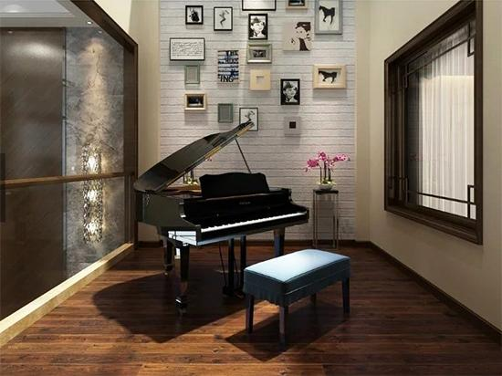 欧式书房带钢琴